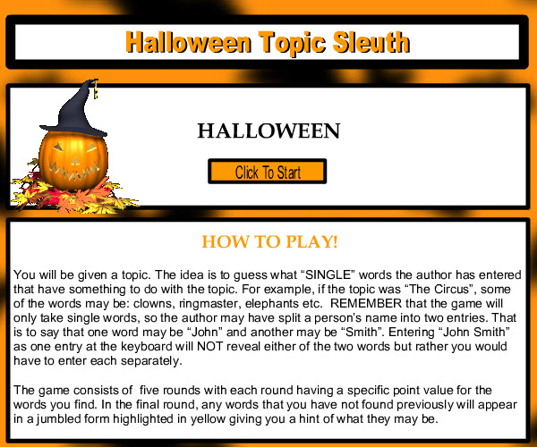 Halloween Topic Sleuth Game