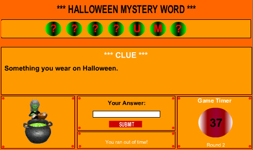 Halloween Mystery Word Game