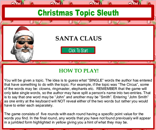 Christmas Topic Sleuth Game